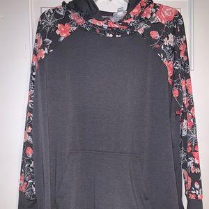 NWT LulaRoe Amber Hoodie Pullover Floral Sz 2XL